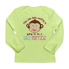Cute Monkey Big Sister Long Sleeve Infant T-Shirt
