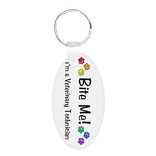 Bite Me Vet Tech Multi Pawprints Keychain