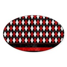 Red, Black and White Argyle Decal