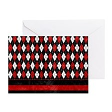 Red, Black and White Argyle Greeting Card