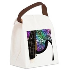 Rainbow Notes Bass Guitar Canvas Lunch Bag
