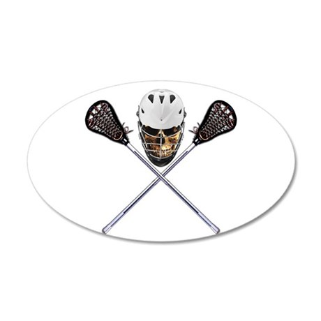 Lacrosse Pirate Skull 20x12 Oval Wall Decal