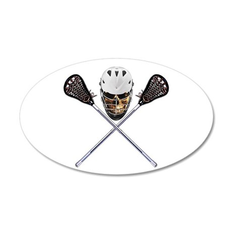 Lacrosse Pirate Skull 35x21 Oval Wall Decal