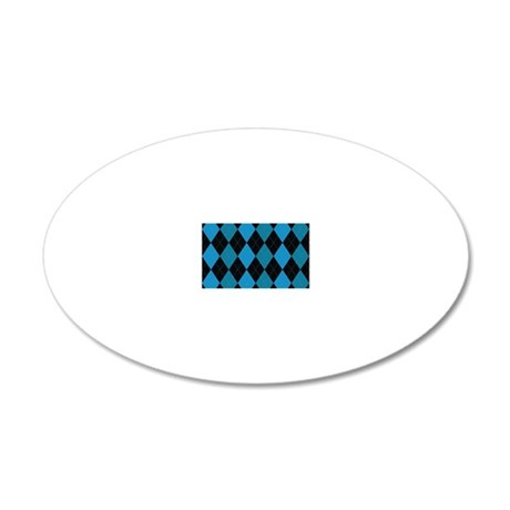 Blue and Black Argyle 20x12 Oval Wall Decal