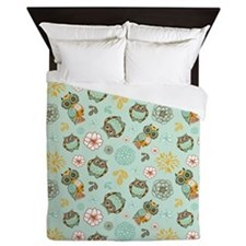 Whimsical Owl Pattern Queen Duvet
