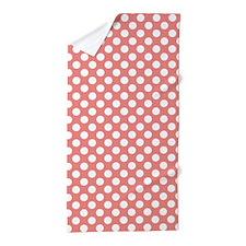 Cute Coral Pink Polka Dots Beach Towel