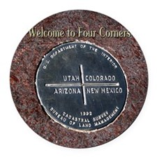 Four Corners Monument in Navajo N Round Car Magnet