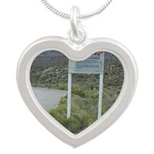 Groom Lake Road Warning Sign Silver Heart Necklace