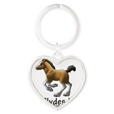 clydesdale_foal_tee Heart Keychain