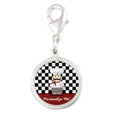 Personalized French Chef Silver Round Charm
