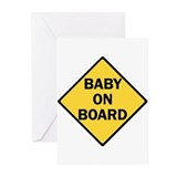 baby on board yellow Greeting Cards (Pk of 10)