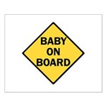 baby on board yellow Small Poster