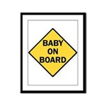 baby on board yellow Framed Panel Print
