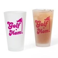 GOLF MOM! with a golf ball and flag Drinking Glass