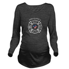 Firefighters Wife Patriotic Long Sleeve Maternity