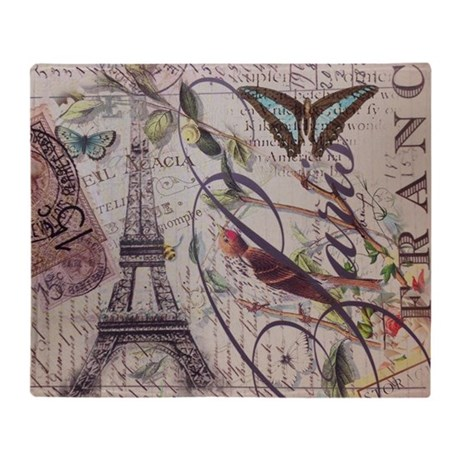 butterfly birds vintage paris botani Throw Blanket