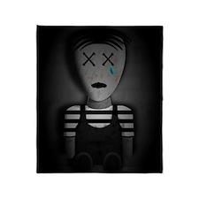 Creepy Doll Crying Throw Blanket