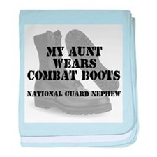 National Guard Aunt wears CB baby blanket