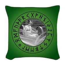 Frigg Rune Shield Woven Throw Pillow