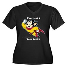 PERSONALIZE Mighty Mouse Women's Plus Size V-Neck
