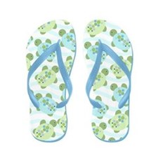 Cute Blue And Green Turtles Flip Flops