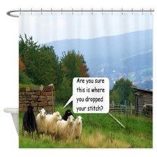 Dropped Stitch Sheep Shower Curtain
