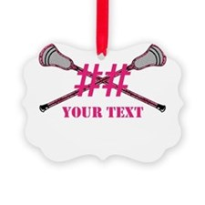 Lacrosse Pink Camo Sticks Crossed Personalize Orna