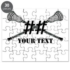 Lacrosse Camo Sticks Crossed Personalize Puzzle