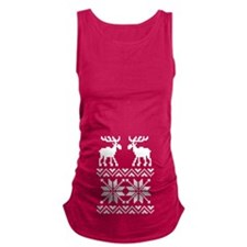 Moose Sweater Christmas Pattern Maternity Tank Top