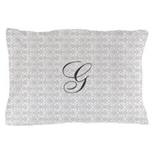 Light Gray Damask Pattern Monogram Pillow Case
