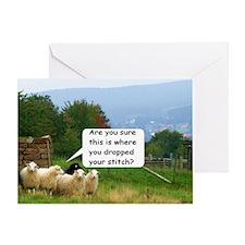 Dropped Stitch Knitting Sheep Greeting Card
