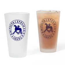 Sleipnir tshirt 10 by 10 Blue.png Drinking Glass