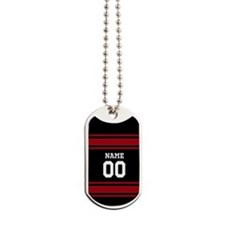 Sports Jersey Black Red Dog Tags