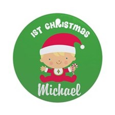 Personalized 1st Christmas Santa Baby Ornament (Ro