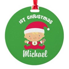 Personalized 1st Christmas Santa Baby Ornament