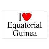 &quot;I Love Equitorial Guinea&quot; Rectangle Decal