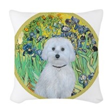 Irises - Maltese (B) - round Woven Throw Pillow