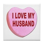 I Love My Husband Valentine Tile Coaster