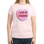I Love My Husband Valentine (Front) Women's Pink T