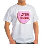 I Love My Husband Valentine (Front) Ash Grey T-Shi