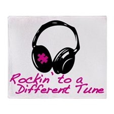Rockin to a Different Tune Pink Throw Blanket