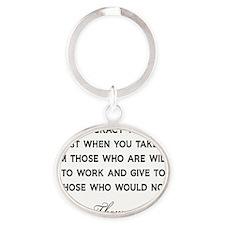 Jefferson-Democracy-(white-shirt) Oval Keychain
