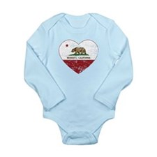 california flag modesto heart distressed Body Suit