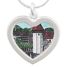lucerne small print Silver Heart Necklace