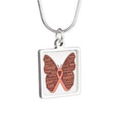 Butterfly Uterine Cancer Silver Square Necklace