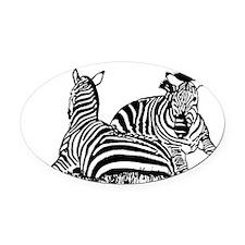 lounging zebras Oval Car Magnet