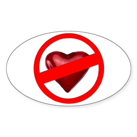 No Love Oval Sticker