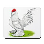 White d'Uccle Rooster Mousepad