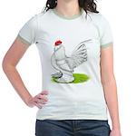 White d'Uccle Rooster Jr. Ringer T-Shirt