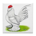 White d'Uccle Rooster Tile Coaster